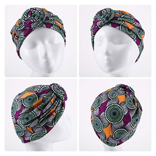 3 Pieces African Turban Head Wrap Scarf Boho Turban Elastic Knotted Beanie Cap (yellow, orange and green)
