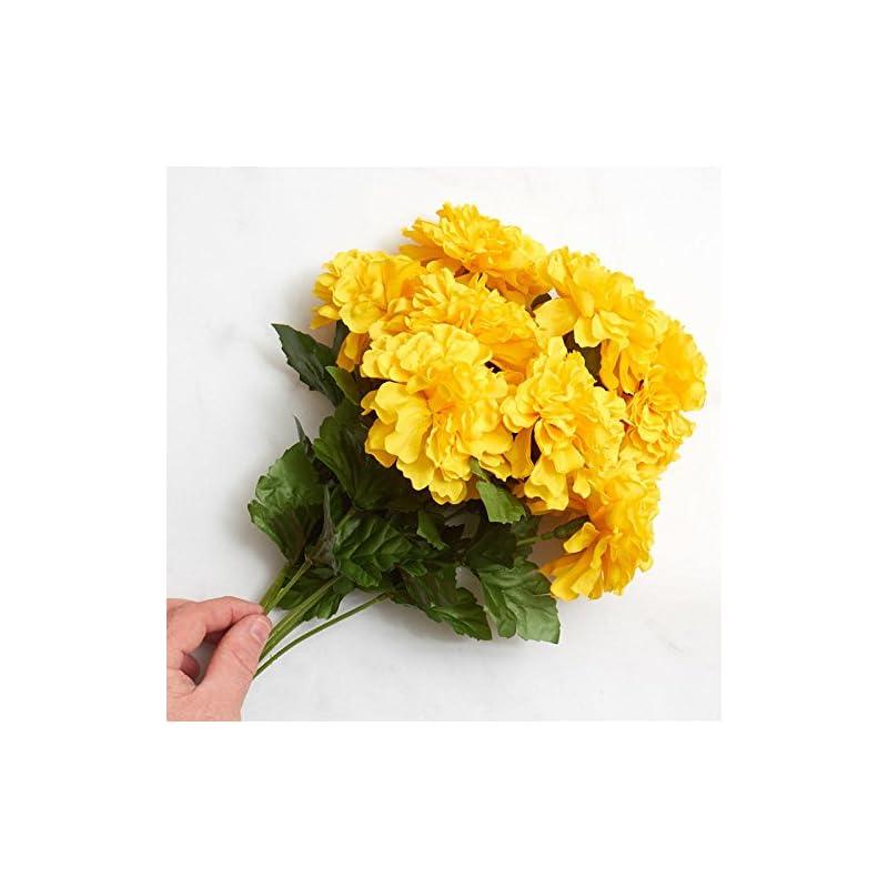 silk flower arrangements factory direct craft yellow poly silk artificial marigold bush   day of the dead, día de muertos, fall harvest flowers