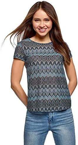 oodji Ultra Mujer Camiseta de Tejido Texturizado con Decoración Étnica
