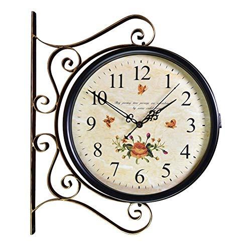 Reloj Reloj de Pared de Doble Cara Casa de Campo Funciona con Pilas Sin tictac Vintage Decorativo Rústico Negro Hierro Forjado Sala de Estar Dormitorio Relojes 3D