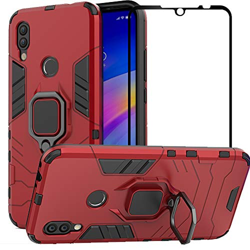 BetterAmy for Xiaomi Redmi 7 Case,Hybrid Heavy Duty Armor Dual Layer Anti-Scratch Shockproof Defender Back Case Cover Tempered Glass Screen Protector for Xiaomi Redmi 7,Red