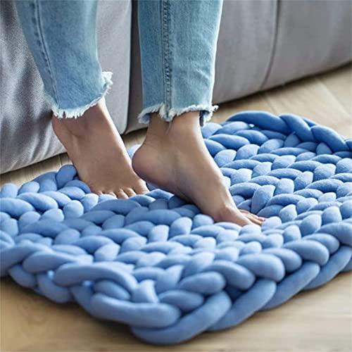 XWCG Manta de Punto Gruesa Lana de Hilo Manta Gruesa de Punto Acogedora de Lana Tejida A Mano para Mascotas Cama Sofá Yoga Alfombra,Azul,80 * 100cm