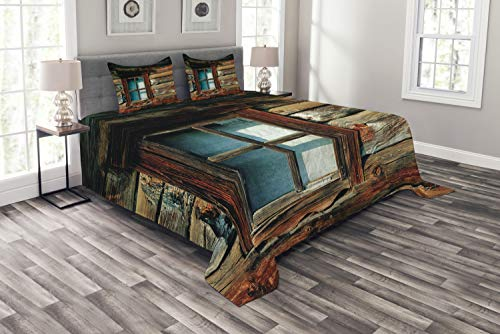 ABAKUHAUS Landschaft Tagesdecke Set, Holz-Muster-Fenster, Set mit Kissenbezügen Sommerdecke, für Doppelbetten 220 x 220 cm, Braun & Blau