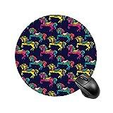 Alfombrilla de ratón redonda para ratón con diseño de caballos de carrusel de atracciones para regalo