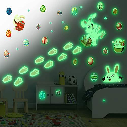 HOWAF - Adesivi da parete pasquali per cameretta dei bambini, per decorare la parete dei bambini, ideale come decorazione da parete per bambini e soggiorno, motivo: coniglietto di Pasqua
