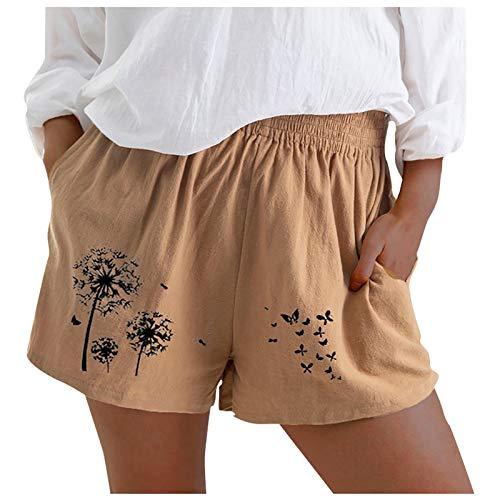 Moda Mujer Suelta Cintura Elástica Verano Imprimir Pantalones Cortos Casuales Pantalones De Lino De Algodón(Caqui,S)