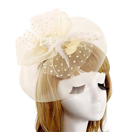 HUIO Coiffe Épingle à Cheveux de mariée de Fleurs de Plume de Cocktail élégant Chapeau Royal Ascot Femmes pour Femme (Color : White)