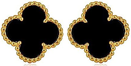 Women Sterling Silver Flower Shape Black Onyx Diamond Fashion 18K Gold Plated Four 4 Leaf Clover Stud Earrings, Designer Jewelry