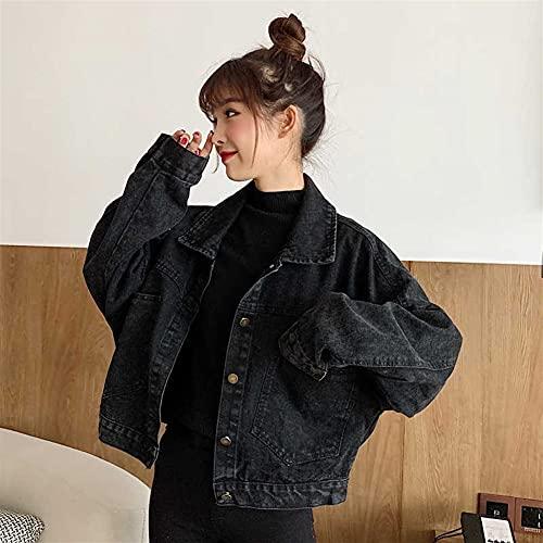Chaqueta de mezclilla recortada para mujer Label de lavado suelto simple Botón Botón Bolsillos Vintage Jean Chaqueta Casual Boyfriend Coat (Color : Black, Size : Small)