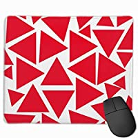 """Modern Red And White Triangle Pattern Mouse Pad Non-Slip Rubber Gaming Mouse Pad Rectangle Mouse Pads for Computers Desktops Laptop 9.8"""" x 11.8"""""""