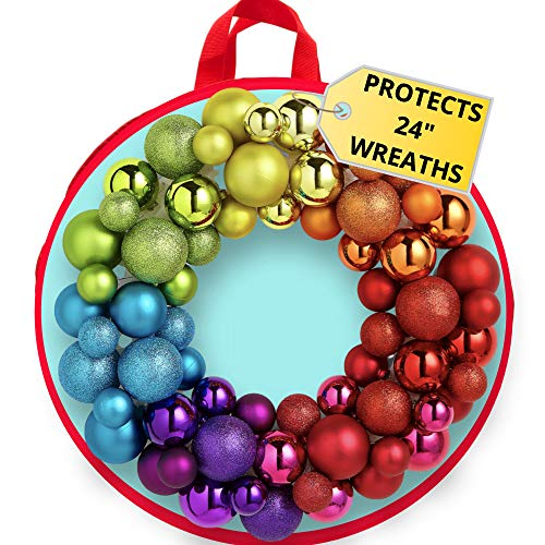 clutter armour Wreath Storage Container Bag - Water Resistant Holder with Clear Plastic Front for 24 Inch Wreaths - Best Protection for Holiday and Christmas Wreaths