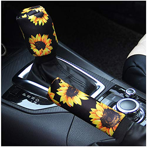 Ranxizy Sunflower Auto Gear Shift Knob Cover+Handbrake Cover Set Washable Neoprene Cloth