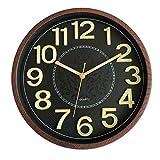 Foxtop Reloj de pared luminoso, silencioso, sin garrapatas, de cuarzo, funciona con pilas, con función de luz nocturna fácil de leer, números 3D, para oficina, cocina, sala de estar, 30 cm