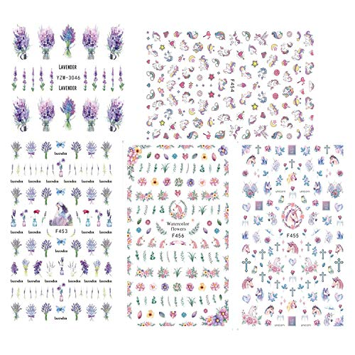 Tvoip 5 Sheet Nail Stickers on Nails Blooming Flower Stickers for Nails Lavender Unicorn Horse Nail Art Water Transfer Stickers Decals