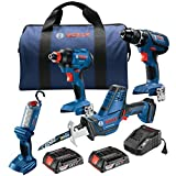 Bosch GXL18V-496B22 kit de 4 herramientas de 18 V con compacta y resistente 1/2 pulgada. Taladro/conductor, 1/4 pulgadas. y 1/2 pulgada. Llave de vaso de impacto 2 en 1, sierra recíproca compacta y luz de trabajo LED