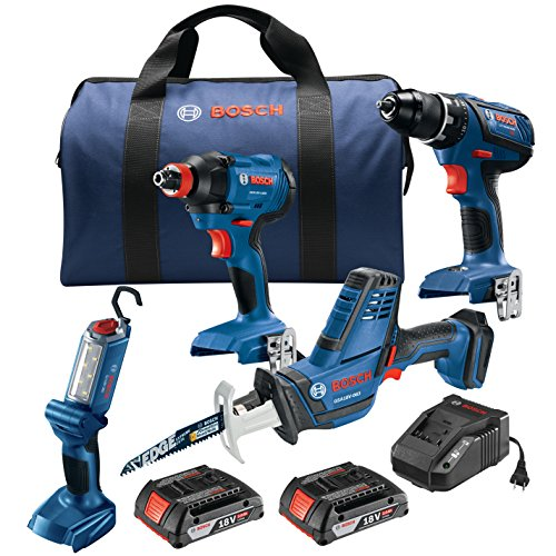 Bosch GXL18V-496B22 18V 4-Tool Combo Kit with Compact Tough 1/2 In. Drill/Driver, 1/4 In. and 1/2 In. Two-In-One Bit/Socket Impact Driver, Compact Reciprocating Saw and LED Worklight