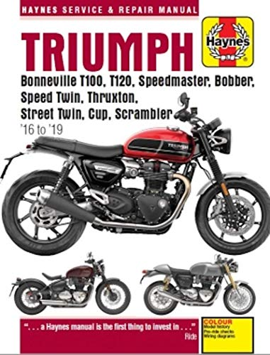 TRIUMPH MOTORCYCLE REPAIR SHOP & SERVICE MANUAL For BONNEVILLE T100 900cc . STREET TWIN 900cc , STREET CUP 900cc & STREET SCRAMBLER 900cc For Years 2016, 2017, 2018 & 2019 - NEW - 320 Pages -  haynes