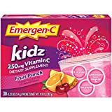 Includes 30 single-serving packets (0.33 oz. each) of Emergen-C Kidz Dietary Supplement in Fruit Punch flavor Enjoy daily as a dietary supplement for immune support Each serving of Emergen-C Kidz delivers 250 mg Vitamin C plus B Vitamins, antioxidant...