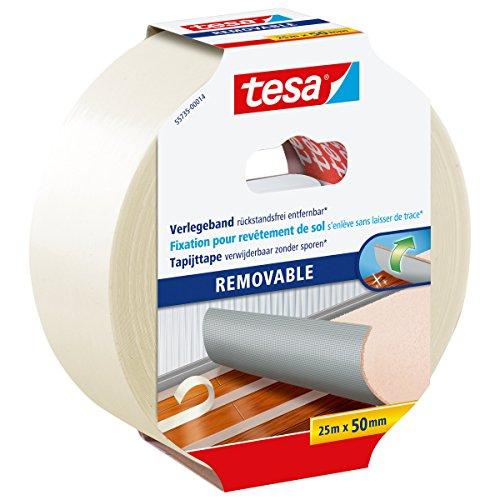 tesa Verlegeband rückstandsfrei entfernbar - Gewebeverstärktes, doppelseitiges Klebeband zum Verkleben von Teppich- und PVC-Bodenbelägen - 25 m x 50 mm