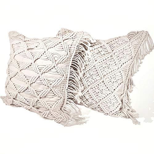 ARAX 2 Stück handgefertigte Makramee-Kissenbezüge mit verschiedenen Mustern. Makramee Sofakissen Kissenhülle Kissenbezüge 45 * 45 cm