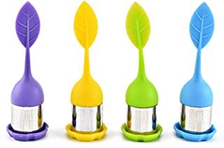 Globaldream Filtro para Té, 4 Piezas Tea Steeper Colador de Té Filtro de té, Acero Inoxidable 304, Silicona Alimentaria