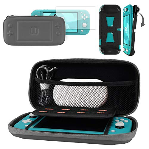 CoBak Carrying Case for Nintendo Switch Lite - with 1 Screen Protector and 1 Grip Case,Ultra Slim Premium EVA Travel Pouch Protective Cover, 8 Game Cartridges, Gray