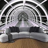 3D写真現代建築空間クリエイティブ壁画リビングルームソファテレビ背景装飾画像壁画壁紙-350x256cm