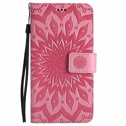 Dfly Galaxy Note 3 Hülle, Premium Slim PU Leder Mandala Blume prägung Muster Flip Hülle Bookstyle Stand Slot Schutzhülle Tasche Wallet Case für Samsung Galaxy Note 3, Rosa