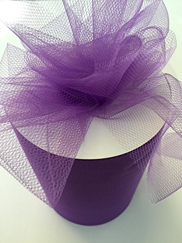 Tulle Fabric Spool/Roll 6 inch x 100 yards (300 feet), 34 Colors Available, On Sale Now! (purple)