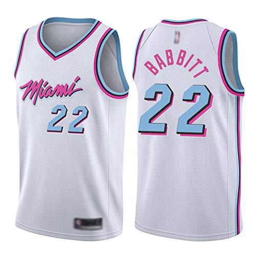 XIAOXU Butler Basketball Jersey Miami # 22, Letras De Números Cosidas para Hombres Sport Fitness Top Mesh Tejido Suave Transpirable De Secado Rápido S-2XL White-L
