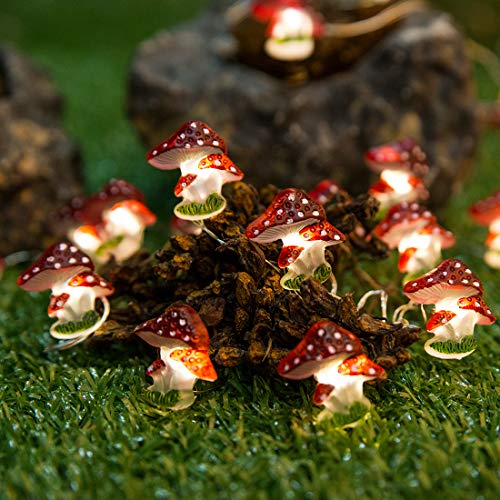 Onemore Fun Mushroom String Lights, 10FT 30LEDs Christmas Decorations Battery Powered, Princess Lights for Home Girls Bedroom Indoor Dorm Room Outdoor Wedding Nursery Party Patio Fence Plants Decor