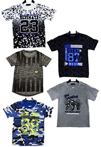 5er Pack Moderne Jungen T Shirts Größe 92-164 (128-140)