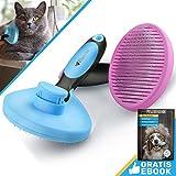 Bluepet ZupfZeug Katzenbürste Selbstreinigend | Zupfbürste entfernt Unterwolle | Hundebürste | blau