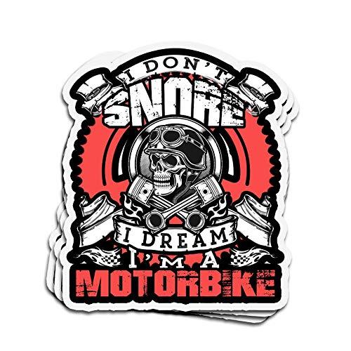 DKISEE 3 Stück Aufkleber I Snore I Dream I Motorrad gestanzt Wandaufkleber für Laptop Fenster 10,2 cm (4 Zoll)