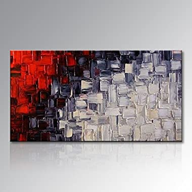 Seekland Hand Painted Red and White Abstract Canvas Wall Art Modern Contemporary Acrylic Painting for Living Room Ready to Hang (Framed 48  W x 24  H)