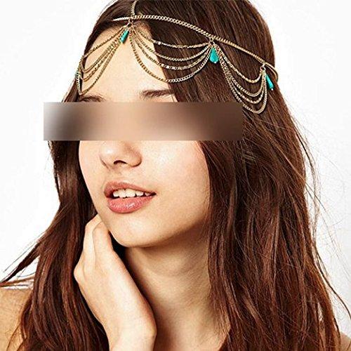 Ecloud Shop® bohème Brassard de Cheveux écharpe Coiffe la chaîne Gland Gothique de Bohême