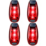 qlovel LED Safety Light (4 Pack), Clip On Strobe Running Lights for Runners, Walking, Bicycle, Dog Collar, Stroller, Best Night High Visibility Accessories for Your Reflective Gear