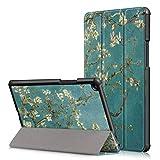 Fundas para Tablet PC Funda de cuero con textura horizontal for PC Prunus Pattern Custer for Xiaomi Mi Pad 4 Plus, con soporte for tres pliegues y función de reposo / reposo Fundas para Tablet PC