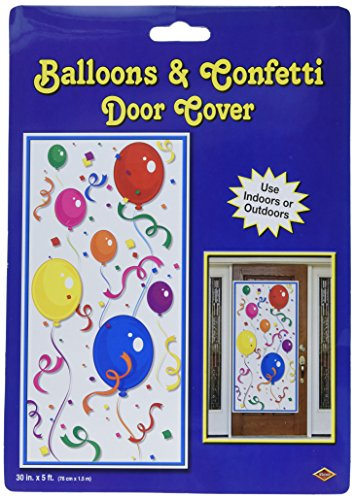 Beistle Balloons and Confetti Plastic Door Cover- 1 pc, Multicolored