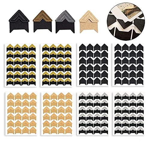8 Fogli Angoli per Montaggio Foto, Foto Angoli Autoadesivo, Angoli per Scrapbooking, Montaggio Adesivi di Foto, per Scrapbooking, Album, Foto, Diario(192PCS, 4 Colori)
