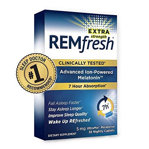 REMfresh Extra Strength 5mg Melatonin Sleep Aid Supplement (36 Caplet) | Sleep Supports Immune Function | #1 Doctor Recommended | Pharmaceutical-Grade, Ultrapure Melatonin