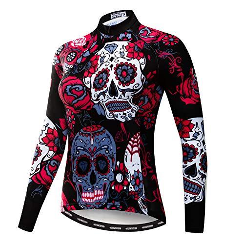 Weimostar Maglia da Ciclismo Manica Lunga Donna Mountain Bike Jersey Camicie Abbigliamento Bici da Strada MTB Top Abbigliamento Sportivo Camicetta Autunno Primavera Nero Rosso M