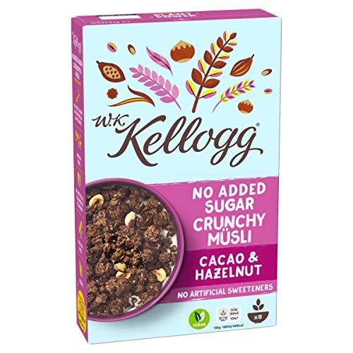W.K. Kellogg Crunchy Müsli Cacao und Hazelnut   Schoko Müsli ohne Zuckerzusatz   Einzelpackung (1 x 400g)