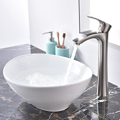 KINGO HOME Above Counter White Porcelain Ceramic Bathroom Vessel Sink