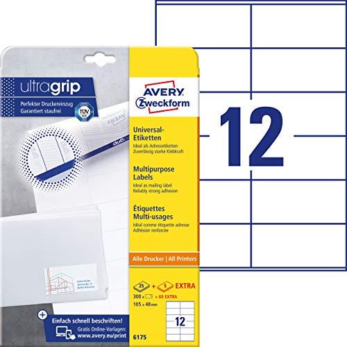 AVERY Zweckform 6175 Adressaufkleber (mit ultragrip, 105 x 48 mm auf DIN A4, Papier matt, bedruckbare, selbstklebende Adressetiketten, 360 Klebeetiketten auf 30 Blatt) weiß