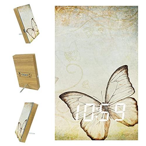 Yuzheng Mariposa Vintage Reloj Despertador Digital de cabecera con función de repetición, Reloj Digital electrónico con Reloj de Escritorio LED Grande Configuración fácil