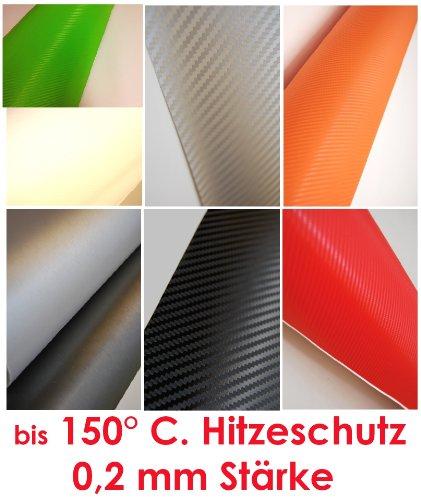 Carbonfolie Carbon Folie Folie (= 26,00 Euro/m2) Auto Bike Laptop Handy * Blasenfrei schwarz weiß orange grün rot silber (150 x 50 cm, schwarz)