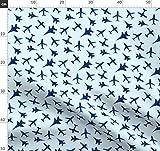 Flugzeug, Luftfahrt, Transport, Blau, Wasserfarben Stoffe -