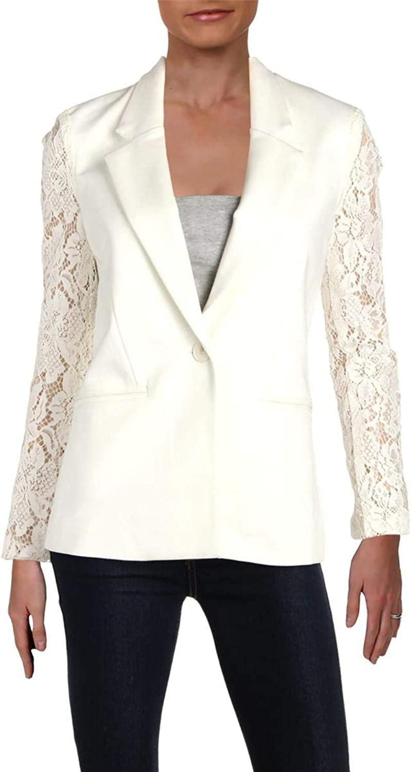 Gemma Womens Lace Sleeves Professional OneButton Blazer