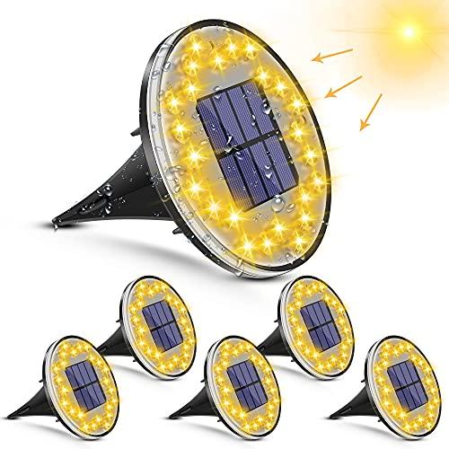 [6 piezas] Luces Solar de Tierra Luz – 24 LED Luces Solares Exterior Jardin, 2 modos IP68 Lámparas de Suelo, Luces Solares de Jardín para Iluminación de Patio, Carretera, Césped
